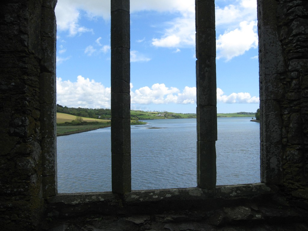 View of the Arigadeen River inlet from inside the Timoleague Friary