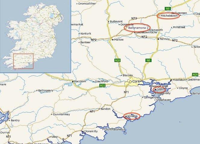 Day 6:  Ballynamona I to Cobh; return to Kinsale - all in County Cork