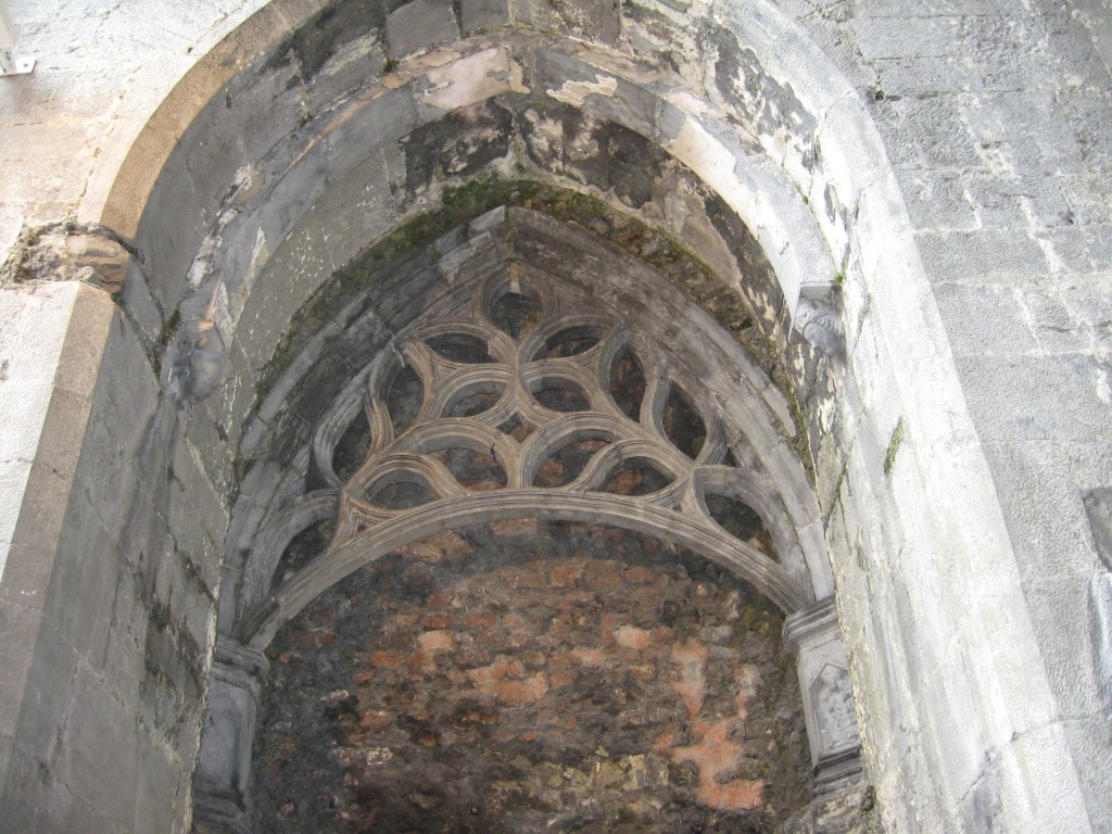 Tracery, screen beneath belfry, Ennis Friary, County Clare