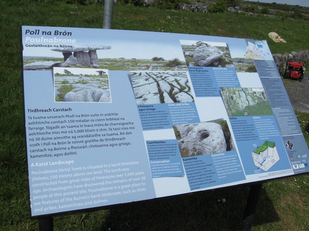 Interpretive marker, Poll na Brón, County Clare