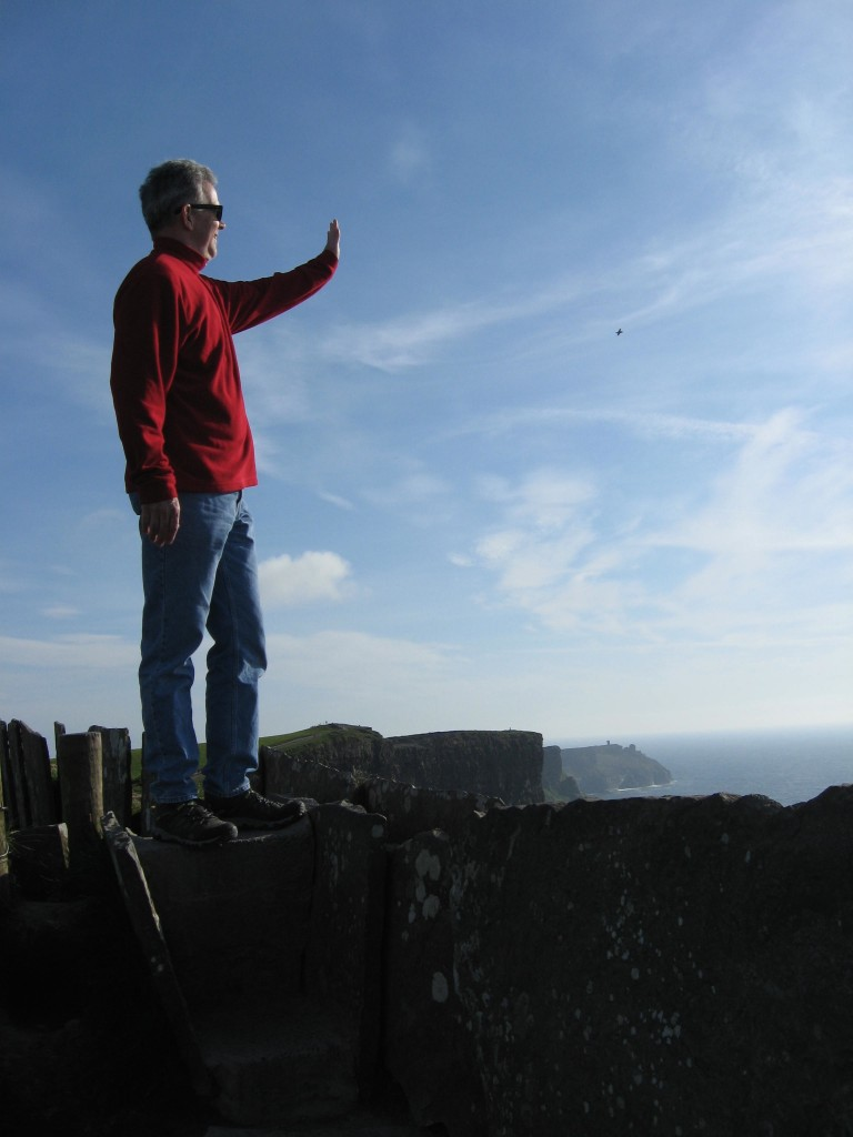 B waving to DC, Cliffs of Moher, County Clare